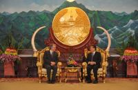 President Choummaly Sayasone greets Mr Pierre Laurent at the Presidents Office in Vientiane