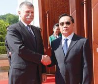Prime Minister right shakes hands with visiting Speaker of the Hungarian National Assembly Lszl Kvr